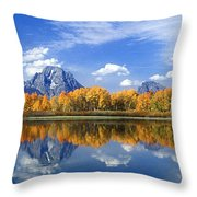 Panorama Fall Morning At Oxbow Bend Grand Tetons National Park Throw Pillow