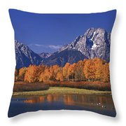 Panorama Fall Morning Oxbow Bend Grand Tetons National Park Wyoming Throw Pillow