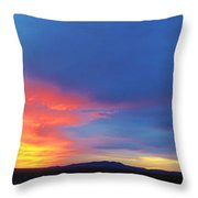 Panorama Fire In The Sky Sunset Throw Pillow