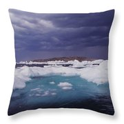 Panorama Ice Floes In A Stormy Sea Wager Bay Canada Throw Pillow