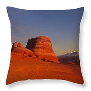 Panorama Moonrise Over Delicate Arch Arches National Park Utah Throw Pillow