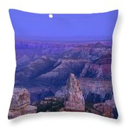 Panorama Moonrise Over Point Imperial Grand Canyon National Park Throw Pillow