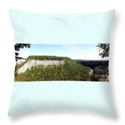 Panorama Of Cliff At Letchworth State Park Throw Pillow
