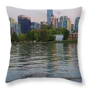 Panorama Of Coal Harbour And Vancouver Skyline At Dusk Throw Pillow