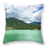 Panorama Of Green Lake, Whistler Throw Pillow