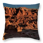 Panorama Of Hoodoos At Sunset Goblin Valley State Park Utah Throw Pillow