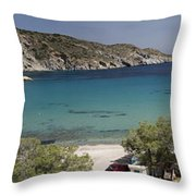 Panorama Of Mandrakia Fishing Village Milos Greece Throw Pillow