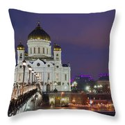 Panorama Of Moscow Cathedral Of The Christ The Savior - Featured 3 Throw Pillow