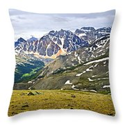 Panorama Of Rocky Mountains In Jasper National Park Throw Pillow