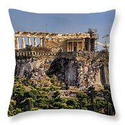 Panorama Of The Acropolis In Athens Throw Pillow