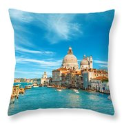 Panorama Of The Basilica Santa Maria Della Salute Throw Pillow