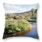 Panorama Of The Little River At Stowe Vermont Throw Pillow