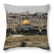 Panorama Of The Temple Mount Including Al-aqsa Mosque And Dome Throw Pillow