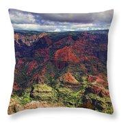 Panorama Of Waimea Canyon Hawaii Throw Pillow by David Smith