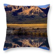 Panorama Reflections Sawtooth Mountains Nra Idaho Throw Pillow