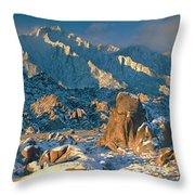 Panorama Snow Covers The Alabama Hills Throw Pillow