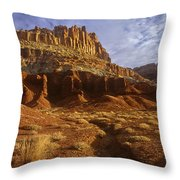 Panorama The Castle On A Cloudy Morning Capitol Reef National Park Throw Pillow
