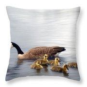 Panoramic Goose Family Outing Throw Pillow