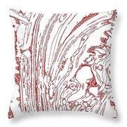 Panoramic Grunge Etching Burgundy Color Throw Pillow