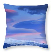 Panoramic Lenticular Clouds Over Sierra Nevada National Park Throw Pillow