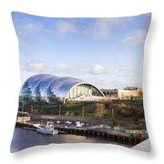 Panoramic Of Newcastle And Gateshead Quayside Throw Pillow