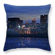 Panoramic Of Skyline At Dusk, Montreal Throw Pillow