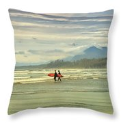 Panoramic Of Surfers On Long Beach, Bc Throw Pillow