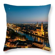Panoramic Of Verona At Dusk Throw Pillow