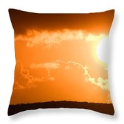 Panoramic Photo Of Sunset At Monkey Mia  Throw Pillow by Yew Kwang