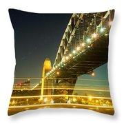 Panoramic Photo Of Sydney Harbour Bridge Night Scenery Throw Pillow