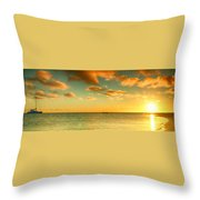 Panoramic Photo Sunrise At Monky Mia Throw Pillow