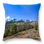Panoramic Sawtooth Range And Little Redfish Lake Throw Pillow by Robert Bales