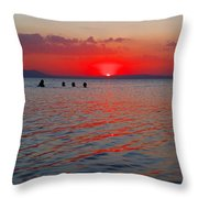 Panoramic Summer Sunset Throw Pillow