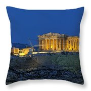 Panoramic View Of Acropolis Of Athens Throw Pillow