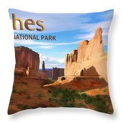 Panoramic View Of Arches National Park  Throw Pillow
