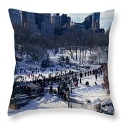 Panoramic View Of Ice Skating Wollman Throw Pillow