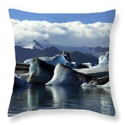 Panoramic View Of Icebergs And Glaciers Throw Pillow