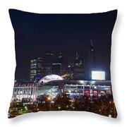 Panoramic View Of Kiev Railroad Station And Europe Square At Night Throw Pillow