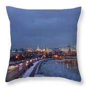 Panoramic View Of Moscow River And Kremlin - Featured 2 Throw Pillow