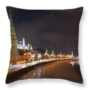 Panoramic View Of Moscow River And Moscow Kremlin Embankment Throw Pillow