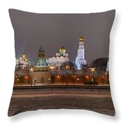 Panoramic View Of Moscow River And Moscow Kremlin In Wintertime Throw Pillow