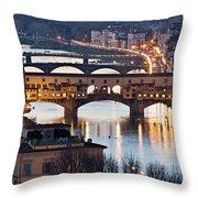 Panoramic View Of Ponte Vecchio - Florence - Tuscany Throw Pillow
