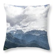 Panoramic View Of San Pellegrino Pass Throw Pillow