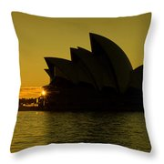 Panoramic View Of Sunrise At Sydney Opera House Throw Pillow