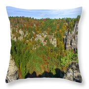 Panoramic View Of The Elbe Sandstone Mountains Throw Pillow