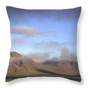 Panoramic View Of The Mountains Lit By The Sun Throw Pillow