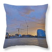 Panoramic View Of The Shard, City Hall Throw Pillow