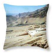Panoramic View Over Hatschepsut Temple Throw Pillow
