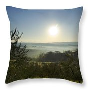 Panoramic View Over The Foggy Field Throw Pillow