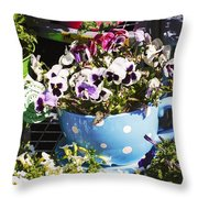 Cup Of Pansies Throw Pillow